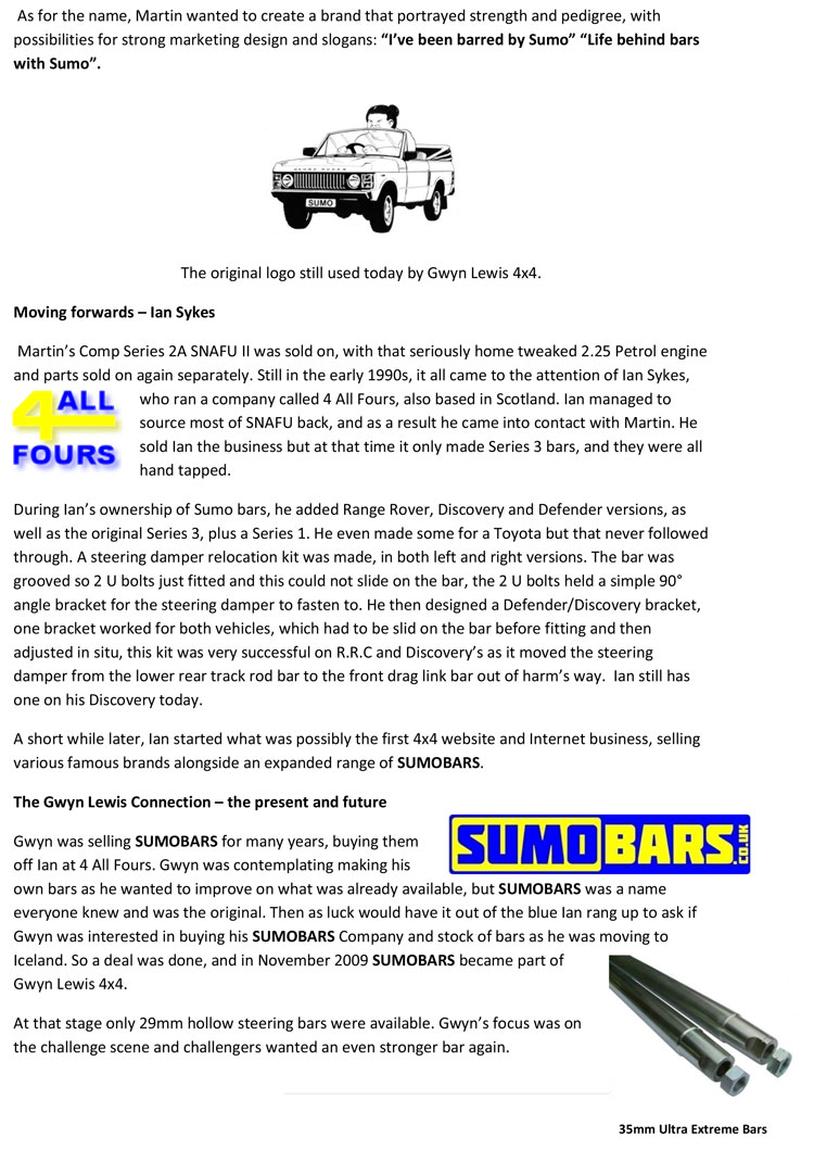 Sumobars Range Rover Track Rod Please Click Here To View The Write Up Below As A Pdf Document