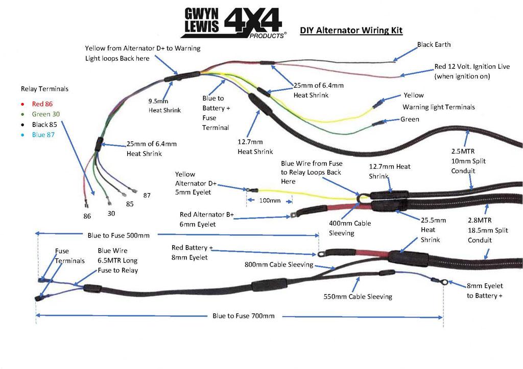 HD Second / Twin Alternator Wiring Kit – DIY, GL1153 – GwynLewis4x4.co.uk   Twin Alternator Wiring Diagram      Gwyn Lewis